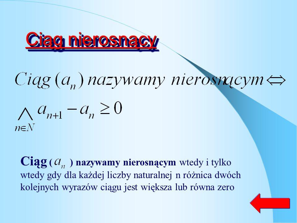 Ciąg stały Ciąg ( ) nazywamy malejącym wtedy i tylko wtedy gdy dla każdej liczby naturalnej n różnica dwóch kolejnych wyrazów ciągu jest równa od zera