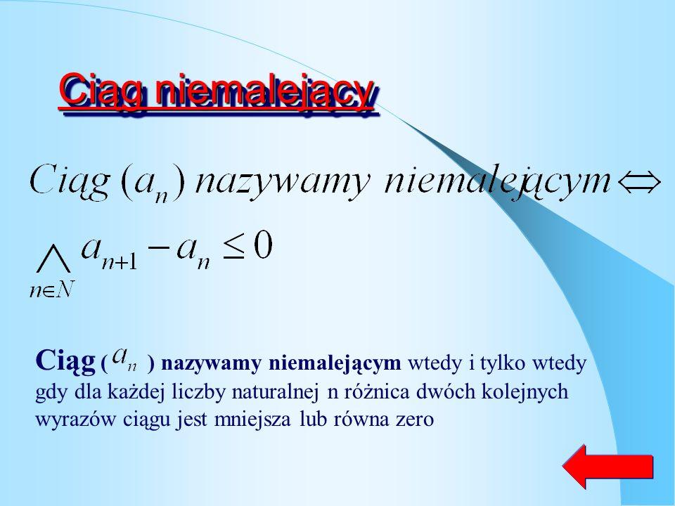 Ciąg nierosnący Ciąg ( ) nazywamy nierosnącym wtedy i tylko wtedy gdy dla każdej liczby naturalnej n różnica dwóch kolejnych wyrazów ciągu jest większ