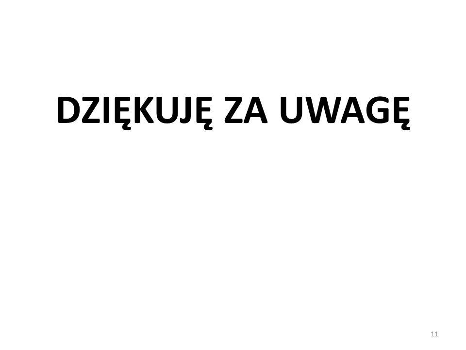 11 DZIĘKUJĘ ZA UWAGĘ