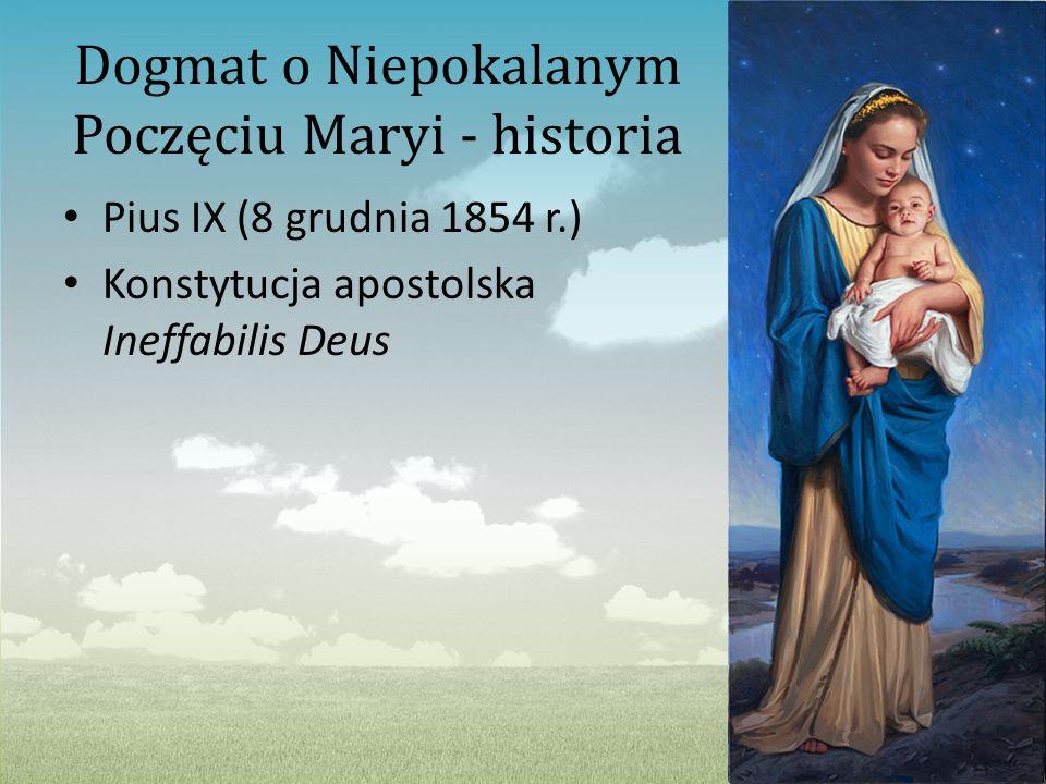 Dogmat o Niepokalanym Poczęciu Maryi - historia Pius IX (8 grudnia 1854 r.) Konstytucja apostolska Ineffabilis Deus