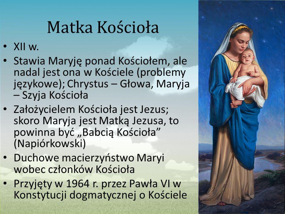 Matka Kościoła XII w. Stawia Maryję ponad Kościołem, ale nadal jest ona w Kościele (problemy językowe); Chrystus – Głowa, Maryja – Szyja Kościoła Zało