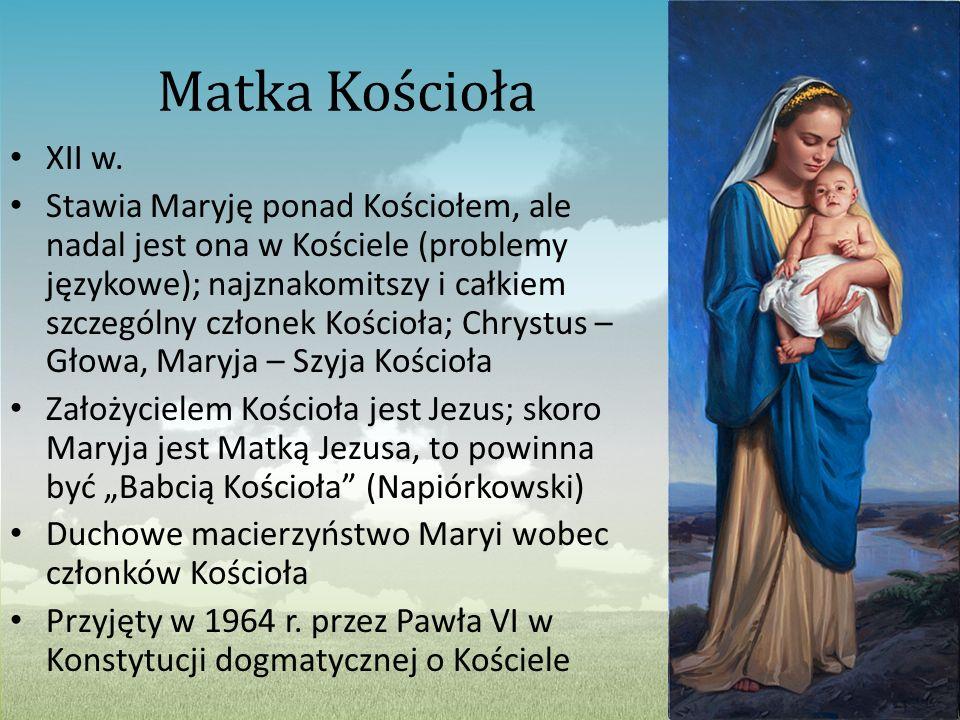 Matka Kościoła XII w. Stawia Maryję ponad Kościołem, ale nadal jest ona w Kościele (problemy językowe); najznakomitszy i całkiem szczególny członek Ko