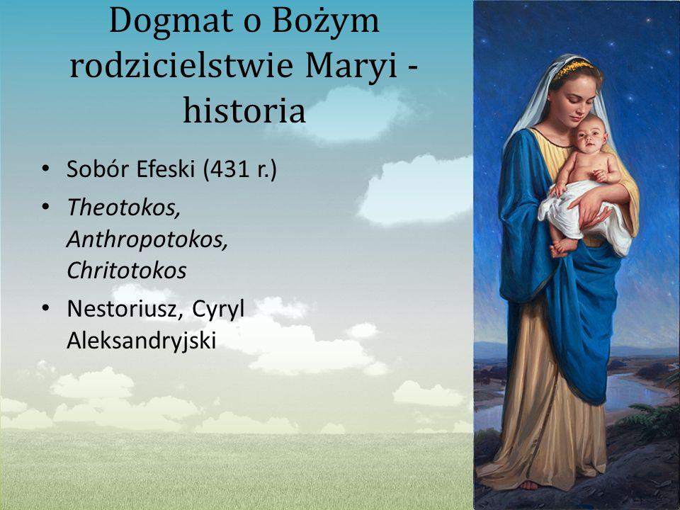 Dogmat o Bożym rodzicielstwie Maryi - historia Sobór Efeski (431 r.) Theotokos, Anthropotokos, Chritotokos Nestoriusz, Cyryl Aleksandryjski