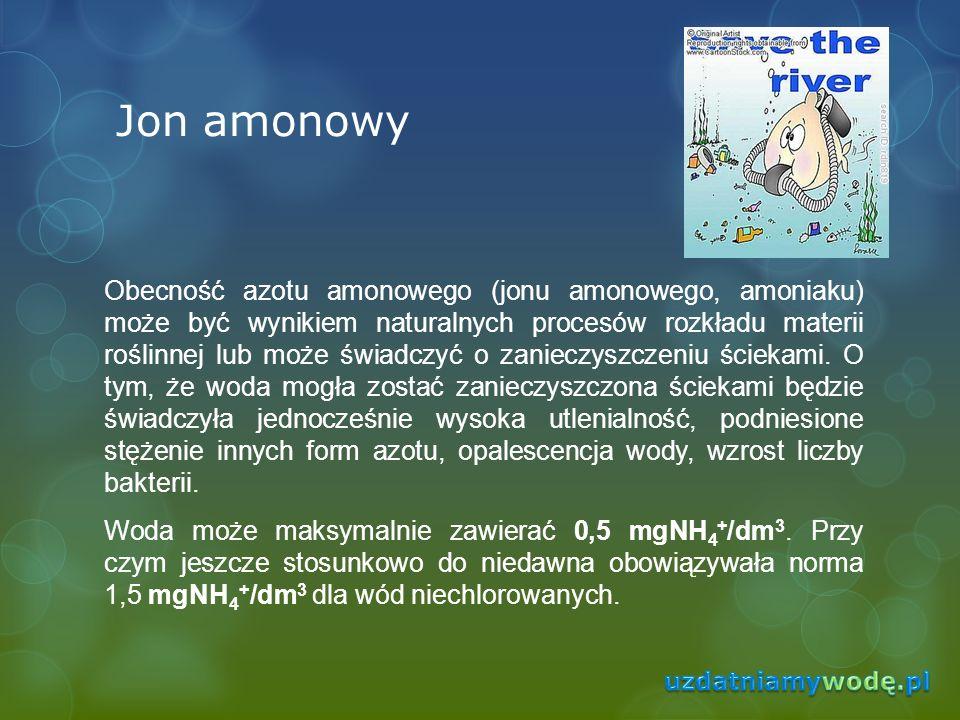 Jon amonowy Obecność azotu amonowego (jonu amonowego, amoniaku) może być wynikiem naturalnych procesów rozkładu materii roślinnej lub może świadczyć o