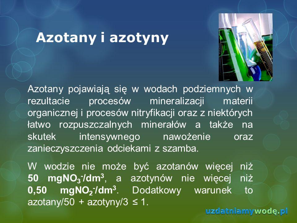 Azotany i azotyny Azotany pojawiają się w wodach podziemnych w rezultacie procesów mineralizacji materii organicznej i procesów nitryfikacji oraz z ni