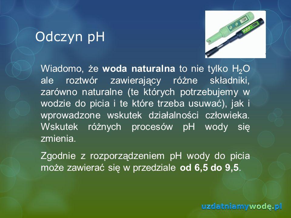 Odczyn pH Wiadomo, że woda naturalna to nie tylko H 2 O ale roztwór zawierający różne składniki, zarówno naturalne (te których potrzebujemy w wodzie d