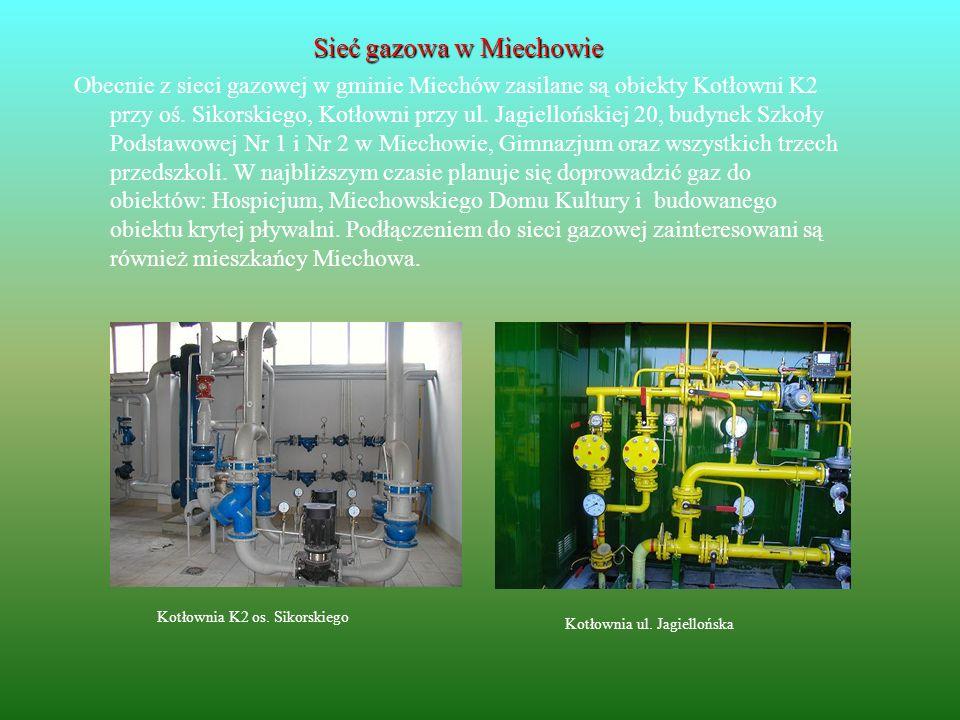 Sieć gazowa w Miechowie Obecnie z sieci gazowej w gminie Miechów zasilane są obiekty Kotłowni K2 przy oś. Sikorskiego, Kotłowni przy ul. Jagiellońskie