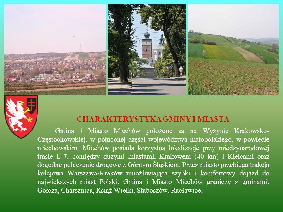CHARAKTERYSTYKA GMINY I MIASTA Gmina i Miasto Miechów położone są na Wyżynie Krakowsko- Częstochowskiej, w północnej części województwa małopolskiego, w powiecie miechowskim.