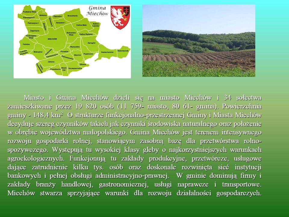 Miasto i Gmina Miechów dzieli się na miasto Miechów i 34 sołectwa zamieszkiwane przez 19 820 osób (11 759- miasto, 80 61- gmina). Powierzchnia gminy -