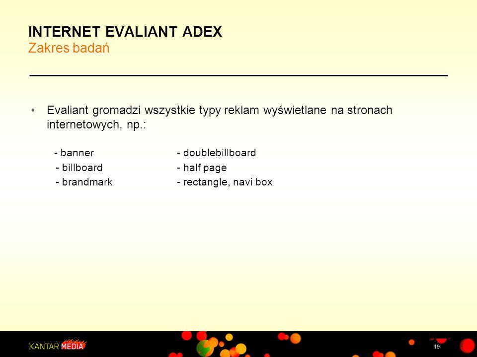 19 INTERNET EVALIANT ADEX Zakres badań Evaliant gromadzi wszystkie typy reklam wyświetlane na stronach internetowych, np.: - banner - doublebillboard