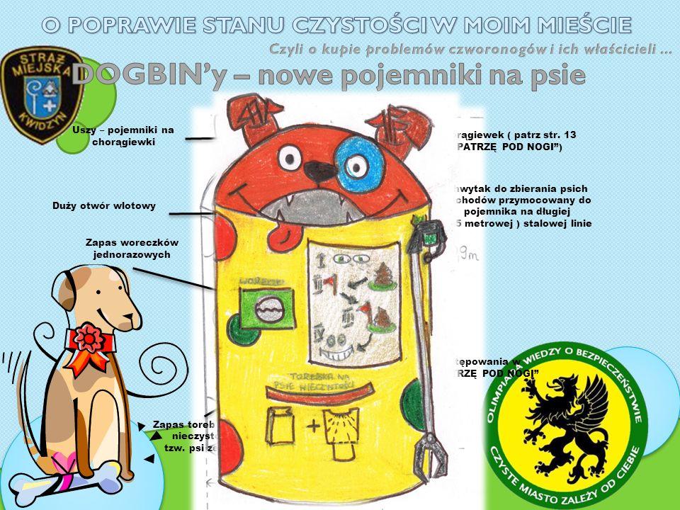 Uszy – pojemniki na chorągiewki Duży otwór wlotowy Zapas woreczków jednorazowych Zapas toreb na psie nieczystości tzw.