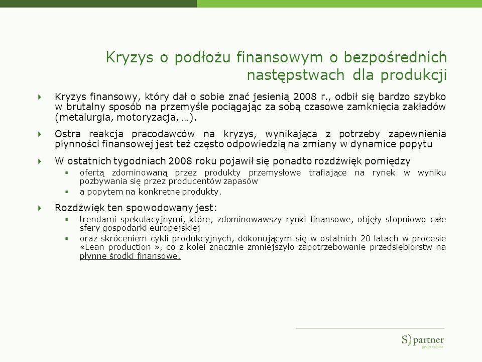 Kryzys o podłożu finansowym o bezpośrednich następstwach dla produkcji Kryzys finansowy, który dał o sobie znać jesienią 2008 r., odbił się bardzo szy