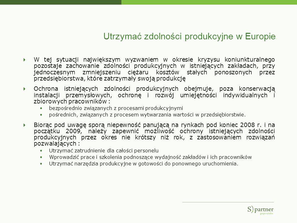 Utrzymać zdolności produkcyjne w Europie W tej sytuacji największym wyzwaniem w okresie kryzysu koniunkturalnego pozostaje zachowanie zdolności produk