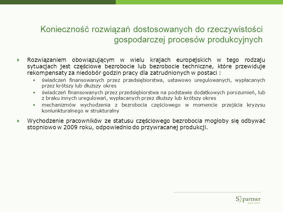 Konieczność rozwiązań dostosowanych do rzeczywistości gospodarczej procesów produkcyjnych Rozwiązaniem obowiązującym w wielu krajach europejskich w te