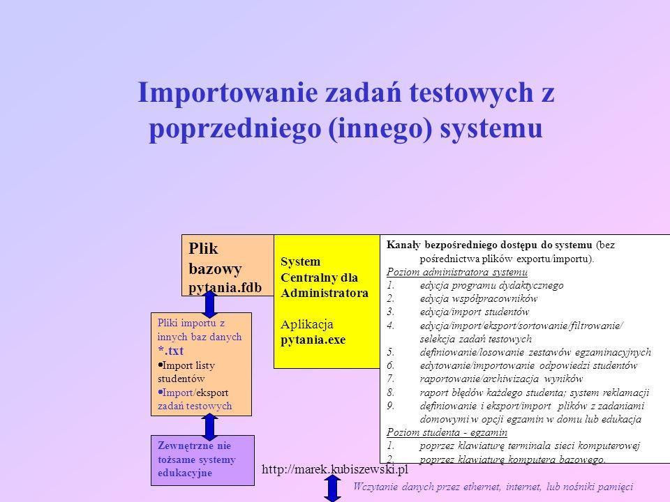 http://marek.kubiszewski.pl Wczytanie danych przez ethernet, internet, lub nośniki pamięci Importowanie zadań testowych z poprzedniego (innego) system