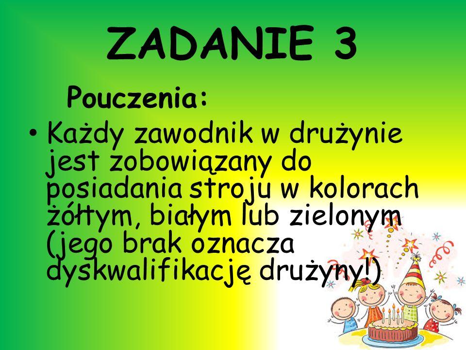 ZADANIE 3 Pouczenia: Każdy zawodnik w drużynie jest zobowiązany do posiadania stroju w kolorach żółtym, białym lub zielonym (jego brak oznacza dyskwal