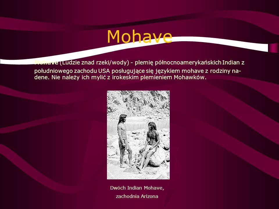 Mohave Mohave (Ludzie znad rzeki/wody) - plemię północnoamerykańskich Indian z południowego zachodu USA posługujące się językiem mohave z rodziny na-