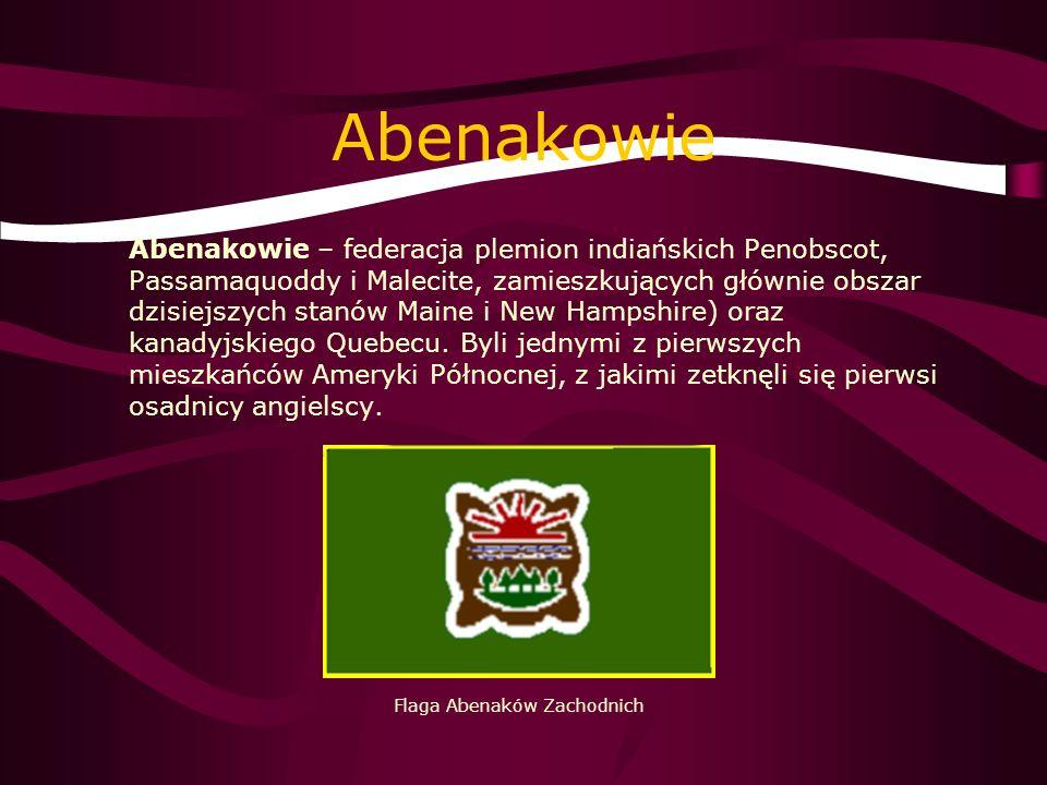 Abenakowie Abenakowie – federacja plemion indiańskich Penobscot, Passamaquoddy i Malecite, zamieszkujących głównie obszar dzisiejszych stanów Maine i