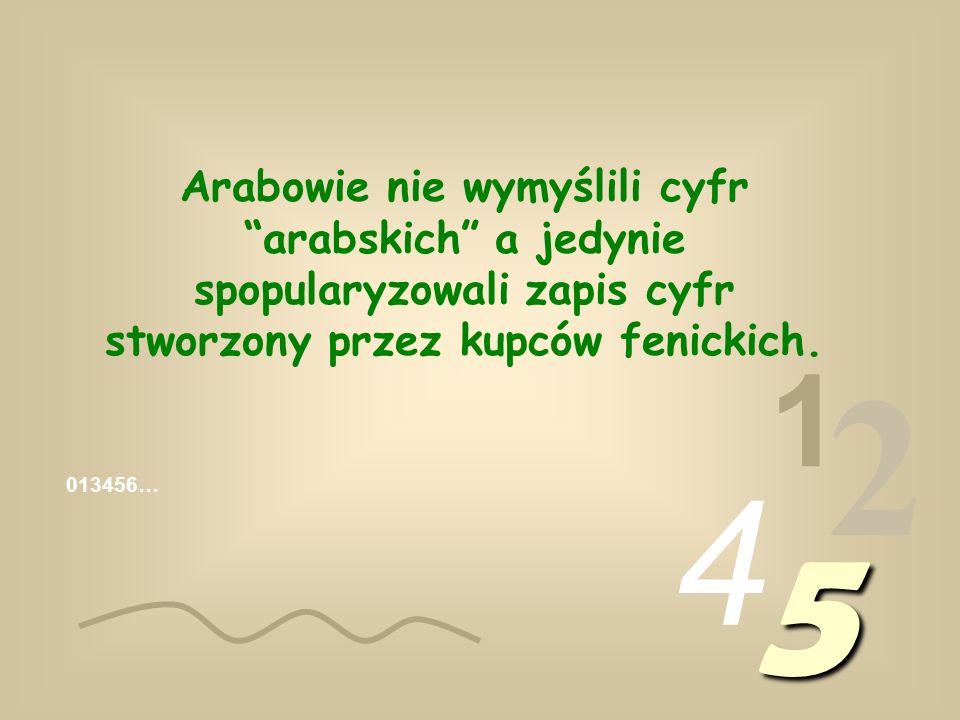 1 2 4 5 Arabowie nie wymyślili cyfr arabskich a jedynie spopularyzowali zapis cyfr stworzony przez kupców fenickich.
