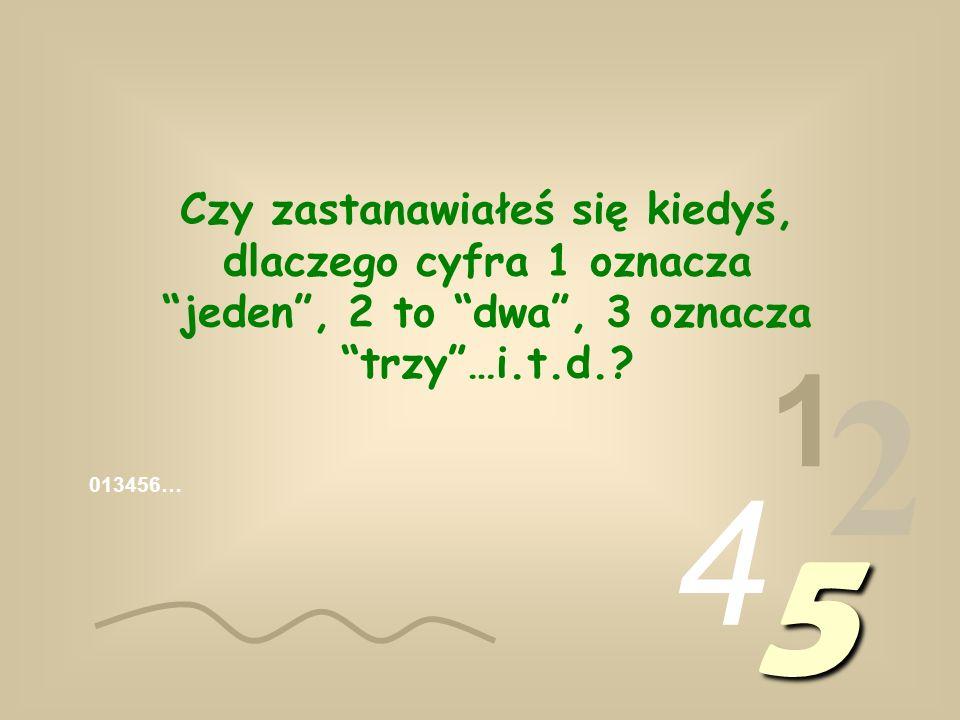 013456… 1 2 4 5 Czy zastanawiałeś się kiedyś, dlaczego cyfra 1 oznacza jeden, 2 to dwa, 3 oznacza trzy…i.t.d.?