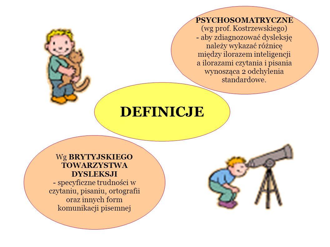 PSYCHOSOMATRYCZNE (wg prof. Kostrzewskiego) - aby zdiagnozować dysleksję należy wykazać różnicę między ilorazem inteligencji a ilorazami czytania i pi