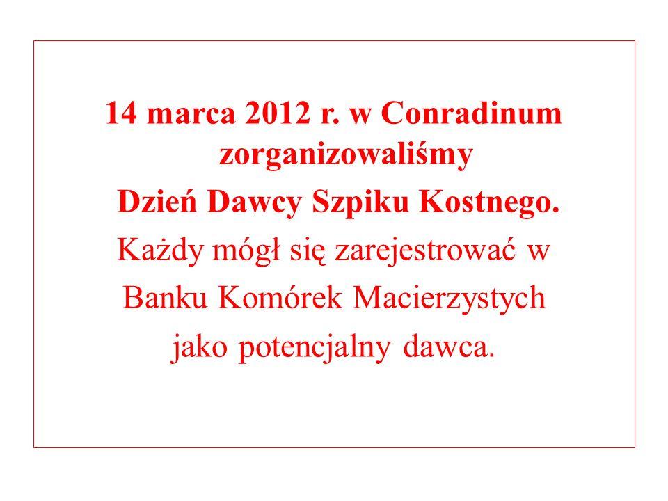 14 marca 2012 r. w Conradinum zorganizowaliśmy Dzień Dawcy Szpiku Kostnego. Każdy mógł się zarejestrować w Banku Komórek Macierzystych jako potencjaln