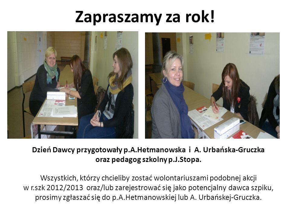 Zapraszamy za rok! Dzień Dawcy przygotowały p.A.Hetmanowska i A. Urbańska-Gruczka oraz pedagog szkolny p.J.Stopa. Wszystkich, którzy chcieliby zostać