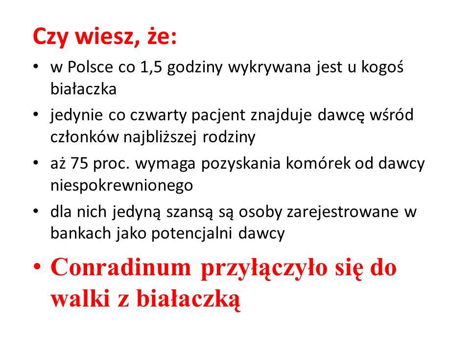 Czy wiesz, że: w Polsce co 1,5 godziny wykrywana jest u kogoś białaczka jedynie co czwarty pacjent znajduje dawcę wśród członków najbliższej rodziny a