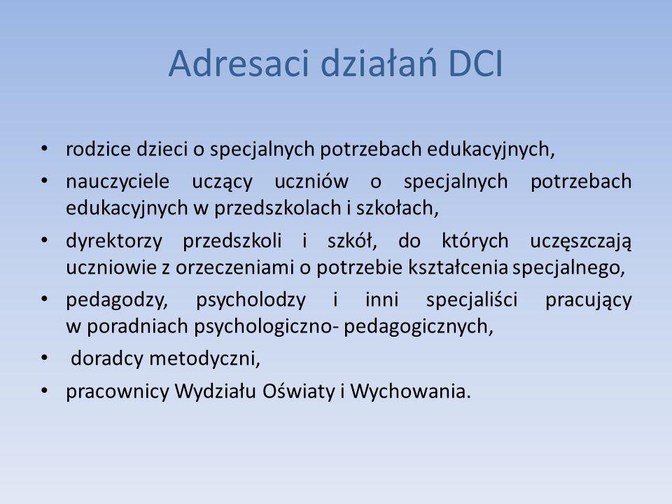 Adresaci działań DCI rodzice dzieci o specjalnych potrzebach edukacyjnych, nauczyciele uczący uczniów o specjalnych potrzebach edukacyjnych w przedszk
