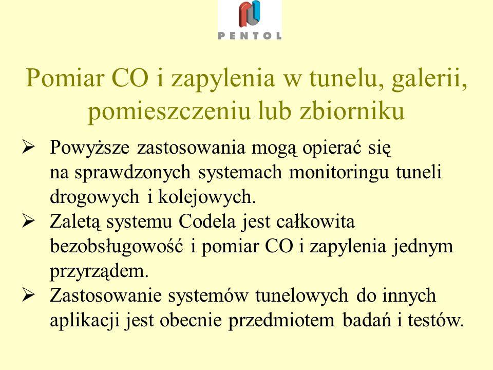 Pomiar CO i zapylenia w tunelu, galerii, pomieszczeniu lub zbiorniku Powyższe zastosowania mogą opierać się na sprawdzonych systemach monitoringu tuneli drogowych i kolejowych.