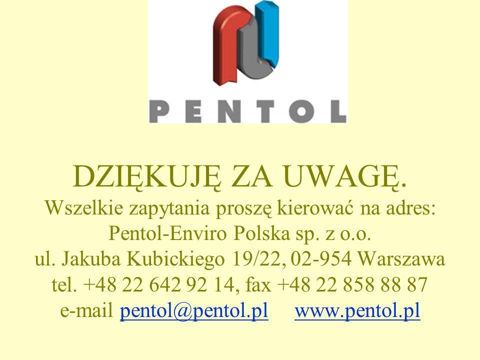 DZIĘKUJĘ ZA UWAGĘ. Wszelkie zapytania proszę kierować na adres: Pentol-Enviro Polska sp.