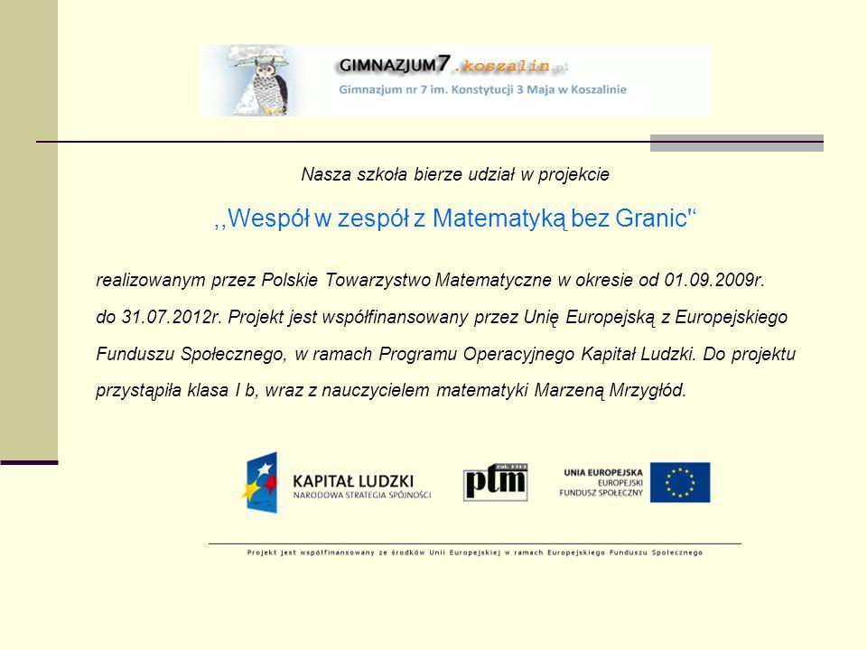 Nasza szkoła bierze udział w projekcie,,Wespół w zespół z Matematyką bez Granic realizowanym przez Polskie Towarzystwo Matematyczne w okresie od 01.09.2009r.