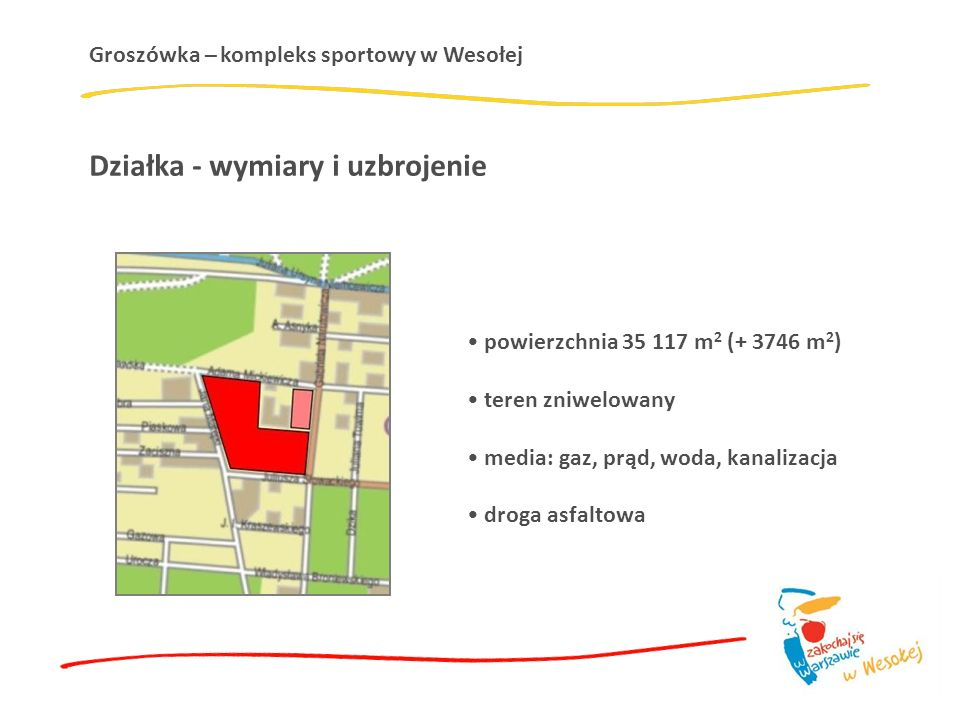 Groszówka – kompleks sportowy w Wesołej Działka - wymiary i uzbrojenie powierzchnia 35 117 m 2 (+ 3746 m 2 ) teren zniwelowany media: gaz, prąd, woda, kanalizacja droga asfaltowa