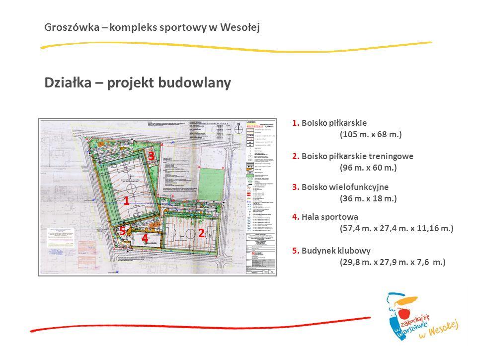 Groszówka – kompleks sportowy w Wesołej Działka – projekt budowlany 1. Boisko piłkarskie (105 m. x 68 m.) 2. Boisko piłkarskie treningowe (96 m. x 60