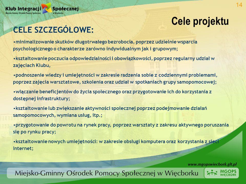 Cele projektu 14 CELE SZCZEGÓŁOWE: minimalizowanie skutków długotrwałego bezrobocia, poprzez udzielnie wsparcia psychologicznego o charakterze zarówno