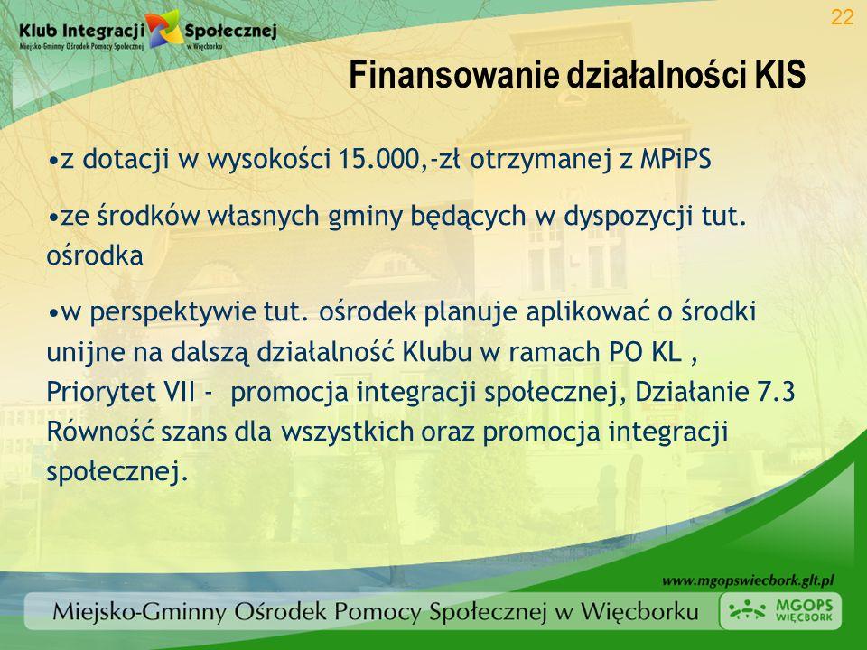 Finansowanie działalności KIS 22 z dotacji w wysokości 15.000,-zł otrzymanej z MPiPS ze środków własnych gminy będących w dyspozycji tut. ośrodka w pe