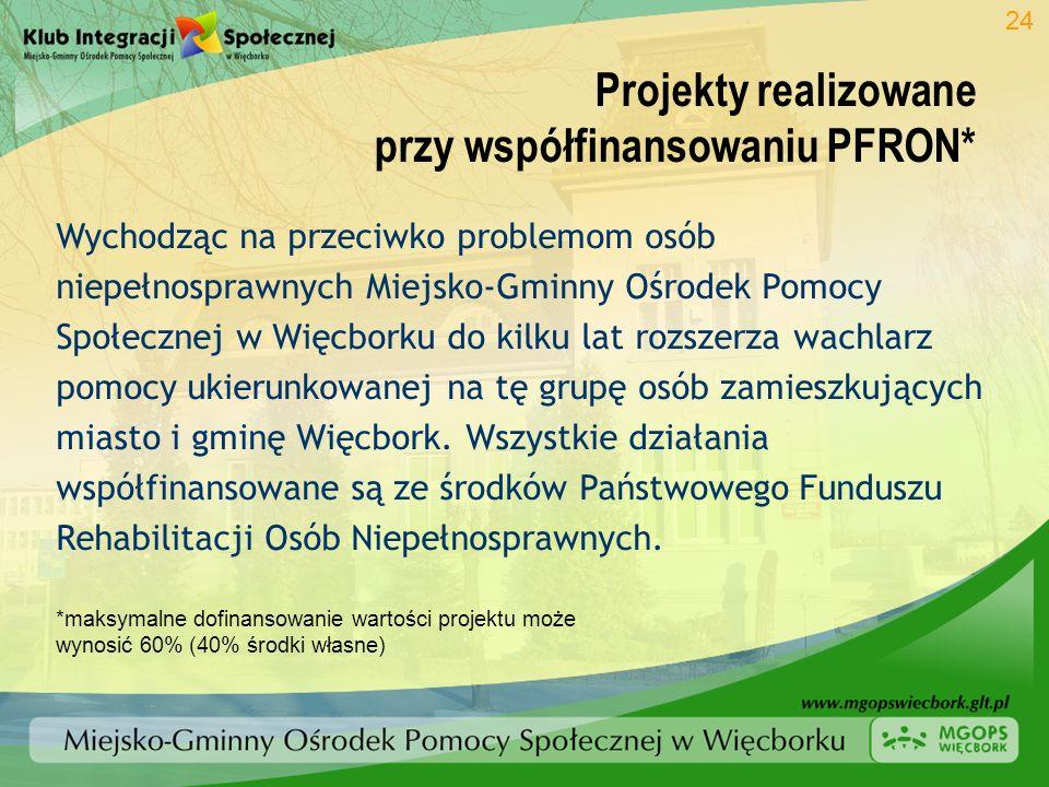 Projekty realizowane przy współfinansowaniu PFRON* 24 Wychodząc na przeciwko problemom osób niepełnosprawnych Miejsko-Gminny Ośrodek Pomocy Społecznej