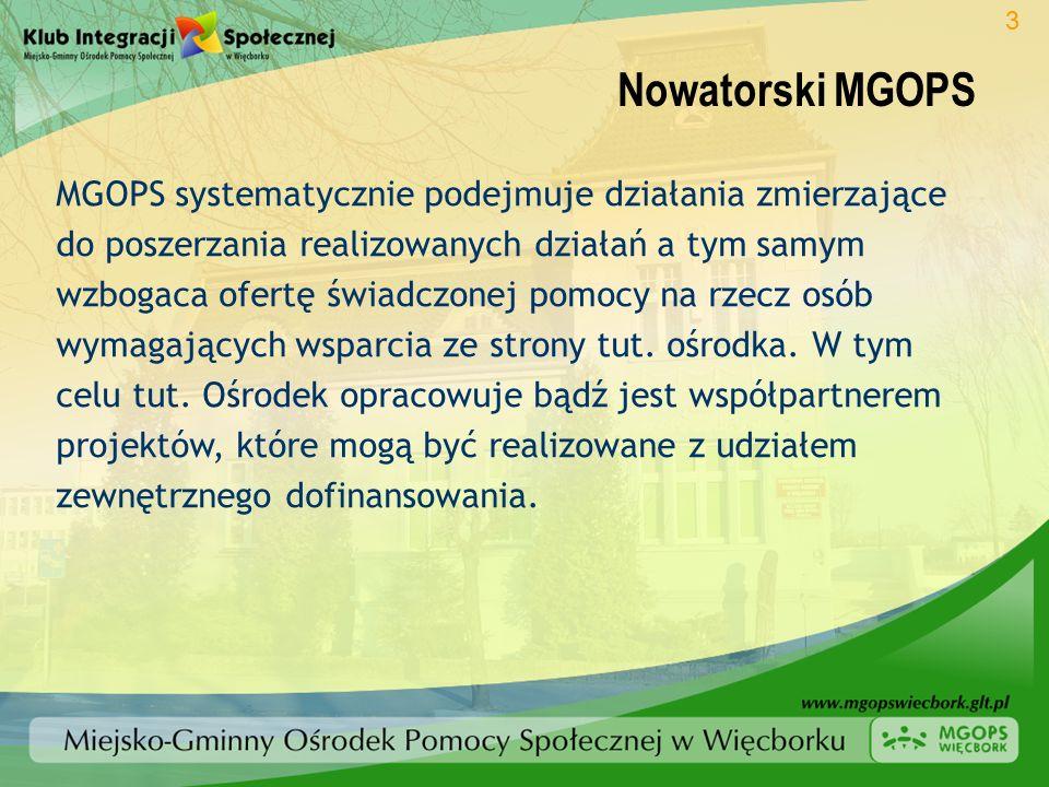 Nowatorski MGOPS MGOPS systematycznie podejmuje działania zmierzające do poszerzania realizowanych działań a tym samym wzbogaca ofertę świadczonej pom