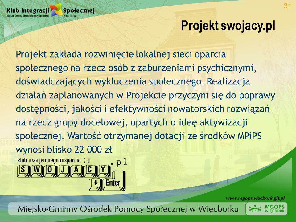 Projekt swojacy.pl 31 Projekt zakłada rozwinięcie lokalnej sieci oparcia społecznego na rzecz osób z zaburzeniami psychicznymi, doświadczających wyklu