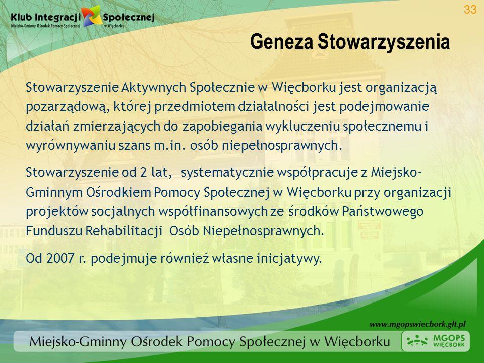 Geneza Stowarzyszenia 33 Stowarzyszenie Aktywnych Społecznie w Więcborku jest organizacją pozarządową, której przedmiotem działalności jest podejmowan