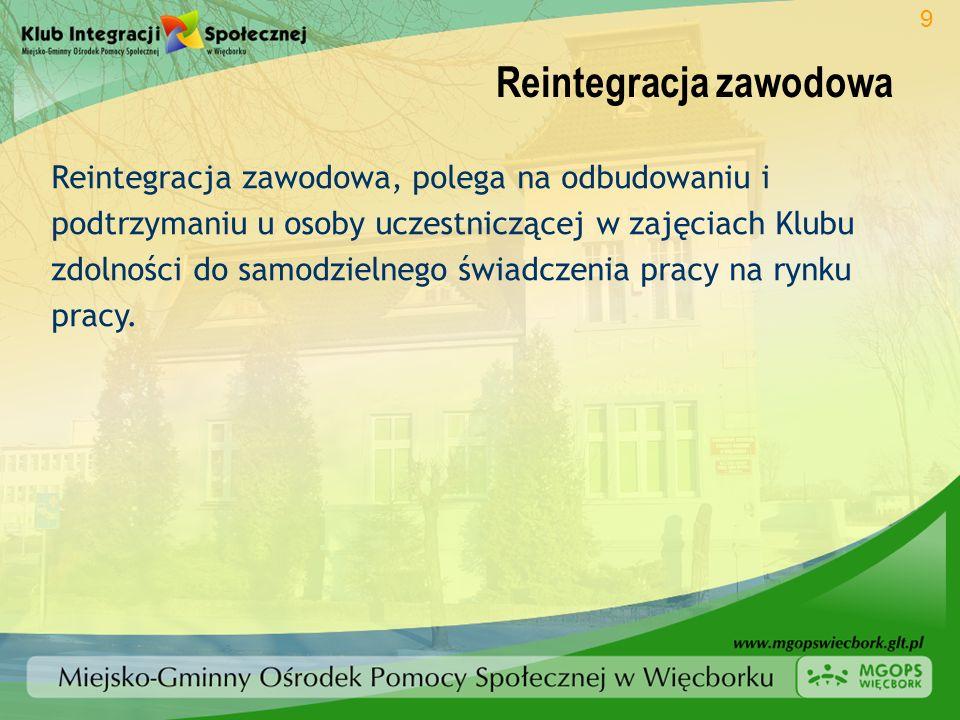 Reintegracja zawodowa Reintegracja zawodowa, polega na odbudowaniu i podtrzymaniu u osoby uczestniczącej w zajęciach Klubu zdolności do samodzielnego