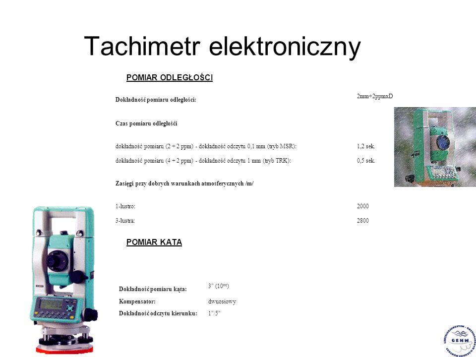 Tachimetr elektroniczny POMIAR ODLEGŁOŚCI Dokładność pomiaru odległości: 2mm+2ppmxD Czas pomiaru odległośći dokładność pomiaru (2 + 2 ppm) - dokładnoś