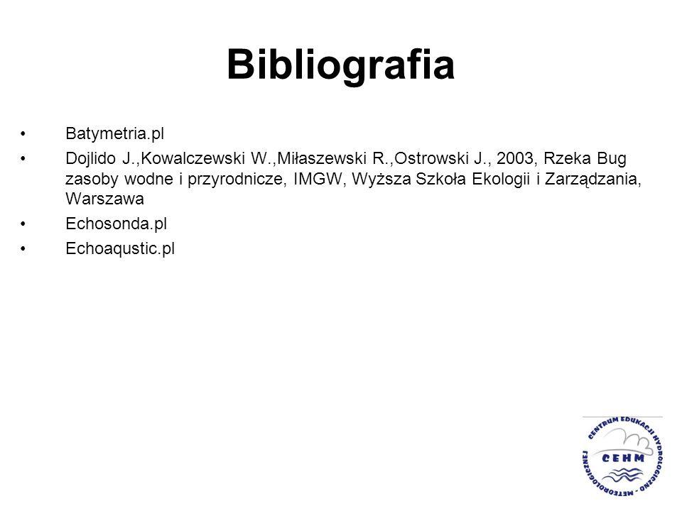 Bibliografia Batymetria.pl Dojlido J.,Kowalczewski W.,Miłaszewski R.,Ostrowski J., 2003, Rzeka Bug zasoby wodne i przyrodnicze, IMGW, Wyższa Szkoła Ek