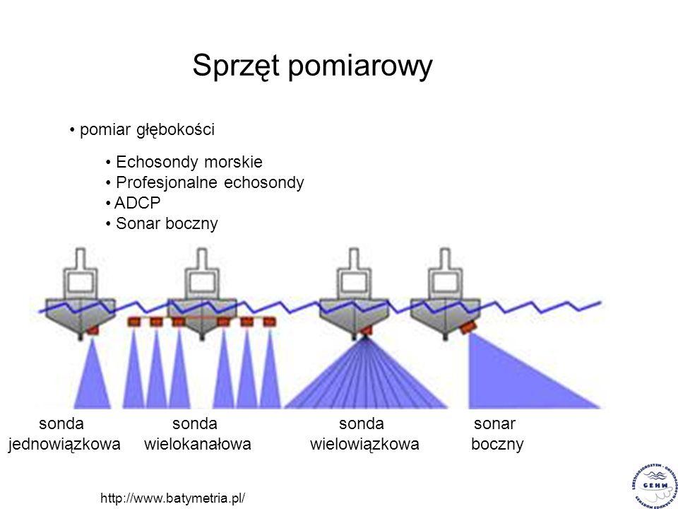 Sprzęt pomiarowy pomiar głębokości Echosondy morskie Profesjonalne echosondy ADCP Sonar boczny http://www.batymetria.pl/ sonda jednowiązkowa sonda wie