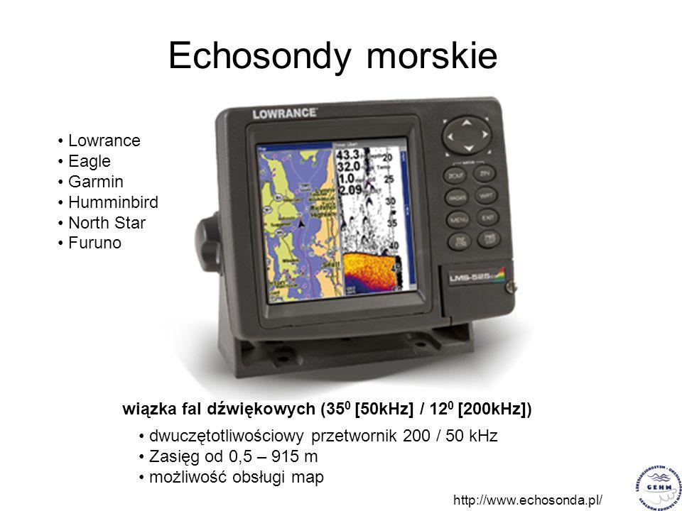 Echosondy morskie dwuczętotliwościowy przetwornik 200 / 50 kHz Zasięg od 0,5 – 915 m możliwość obsługi map Lowrance Eagle Garmin Humminbird North Star