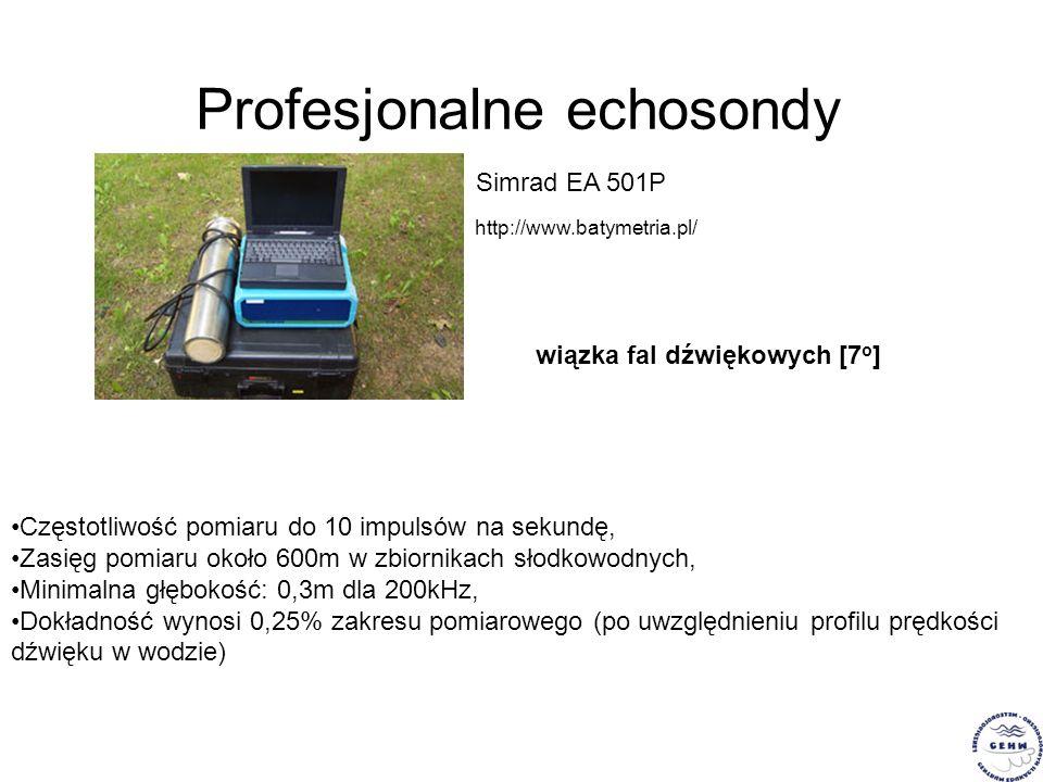 Profesjonalne echosondy Simrad EA 501P http://www.batymetria.pl/ Częstotliwość pomiaru do 10 impulsów na sekundę, Zasięg pomiaru około 600m w zbiornik