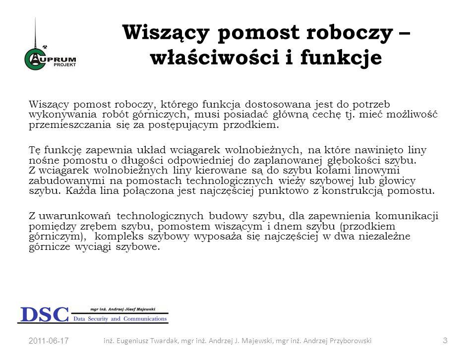 2011-06-17inż. Eugeniusz Twardak, mgr inż. Andrzej J. Majewski, mgr inż. Andrzej Przyborowski3 Wiszący pomost roboczy – właściwości i funkcje Wiszący