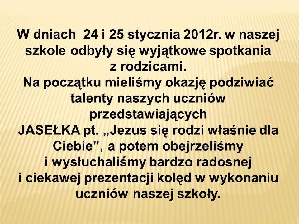 KONCERT KOLĘD 25 STYCZNIA 2012r. – klasy starsze