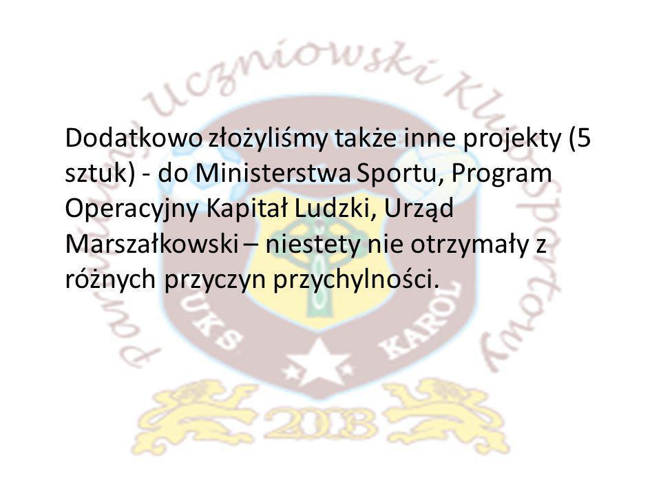 Dodatkowo złożyliśmy także inne projekty (5 sztuk) - do Ministerstwa Sportu, Program Operacyjny Kapitał Ludzki, Urząd Marszałkowski – niestety nie otrzymały z różnych przyczyn przychylności.