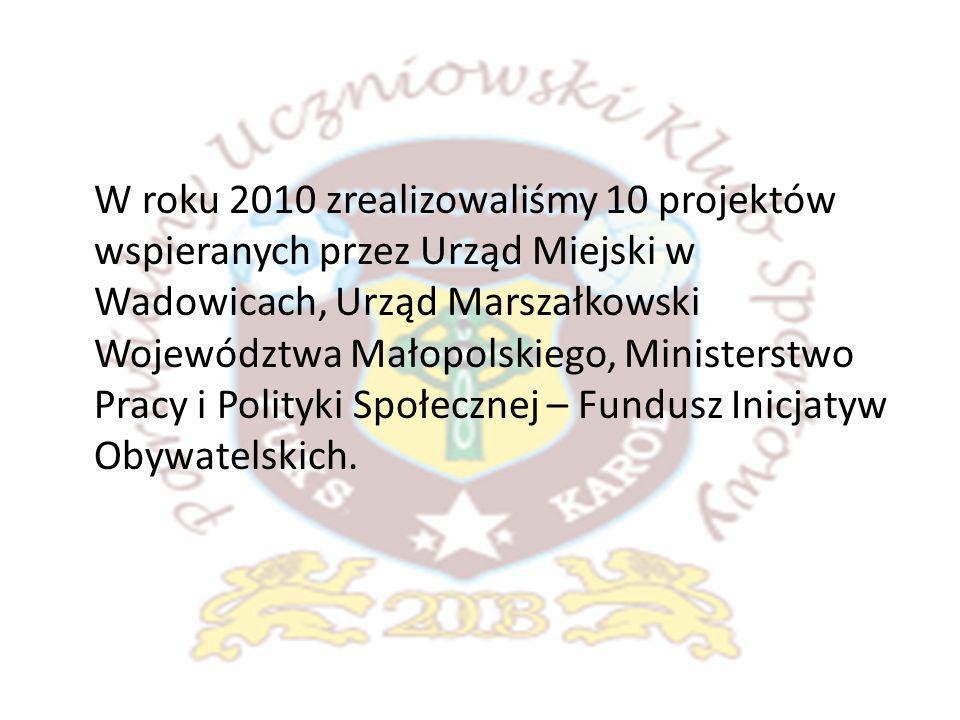 PUKS KAROL Wadowice w liczbach za 2010 rok: 10 grup piłki nożnej.